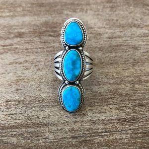 Size 8 Kingman Triple Turquoise Stone